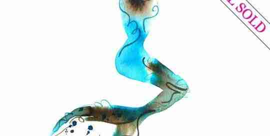 watercolour mermaid painting by Emma Plunkett