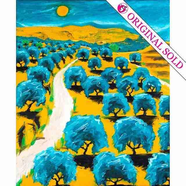an arid andalucian landscape oil painting by Emma Plunkett art