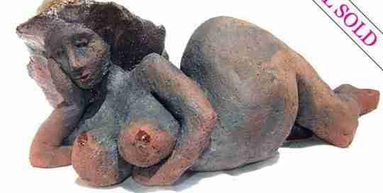 Venus raku sculpture by Emma Plunkett