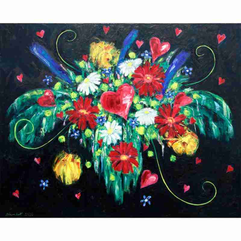 hearts and flowers oil painting by Emma Plunkett