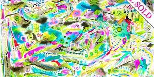 intricatly painted abstract watercolour, colourful and detailed.