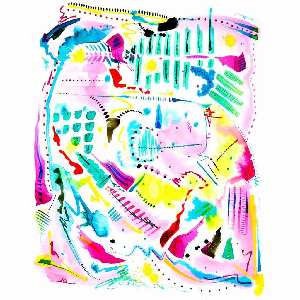beautiful colourful abstract watercolour by Emma Plunkett
