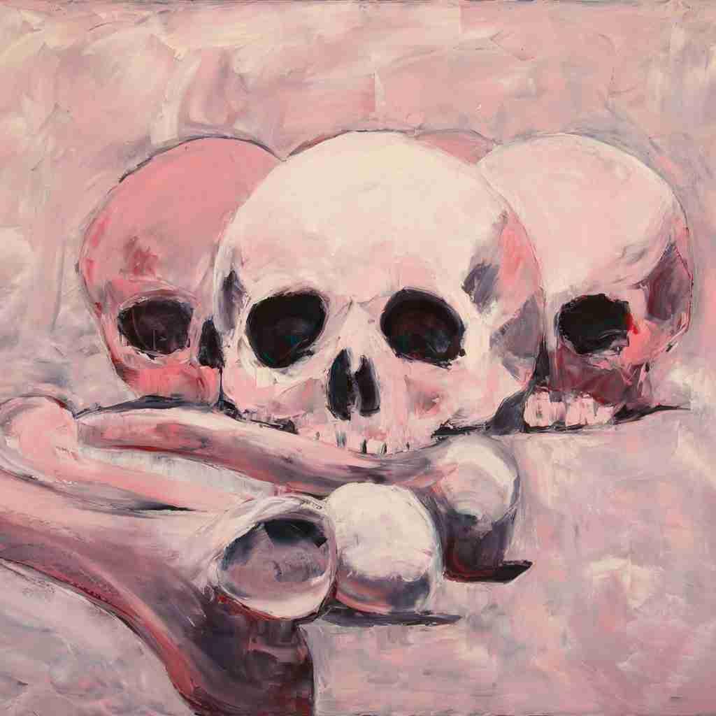 Pink skulls oil painting by Emma Plunkett – Sedlec Ossuary