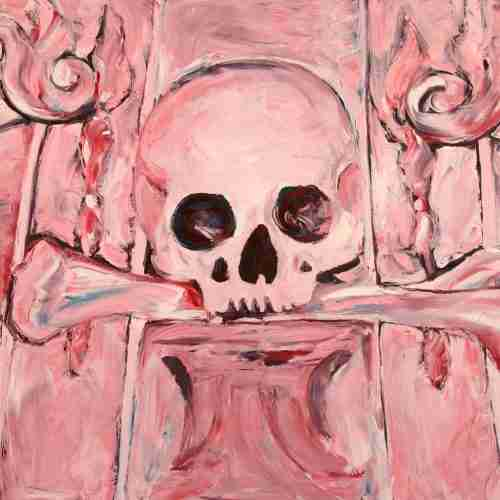 Pink skull oil painting by Emma Plunkett