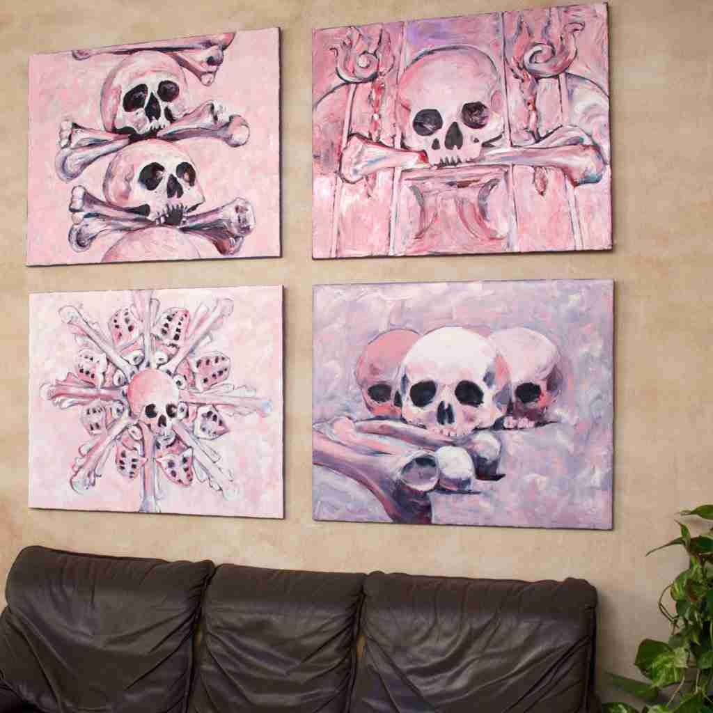 Pink skulls oil paintings by Emma Plunkett