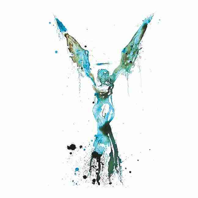 Blue watercolour angel by Emma Plunkett art