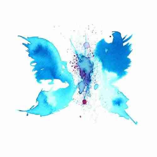 Cerulean blue watercolour butterfly