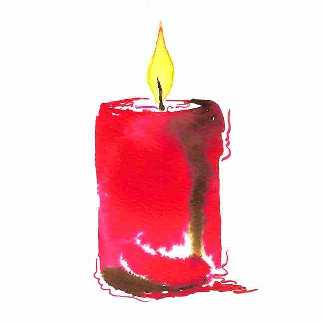 red watercolour candle
