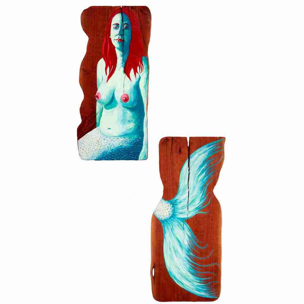 Mermaid painting on eucalyptus wood