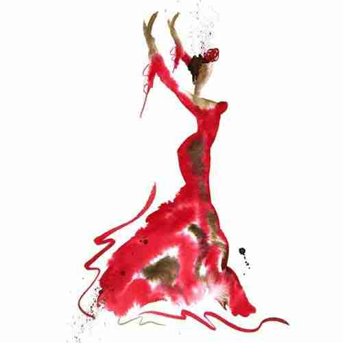 Beautiful red flamenco dancer watercolour