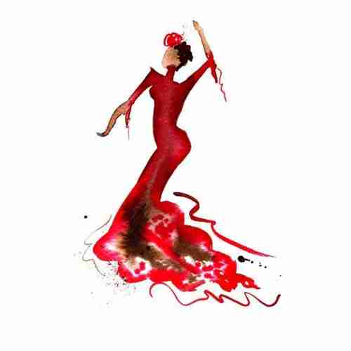 Beautiful red flamenco dancer
