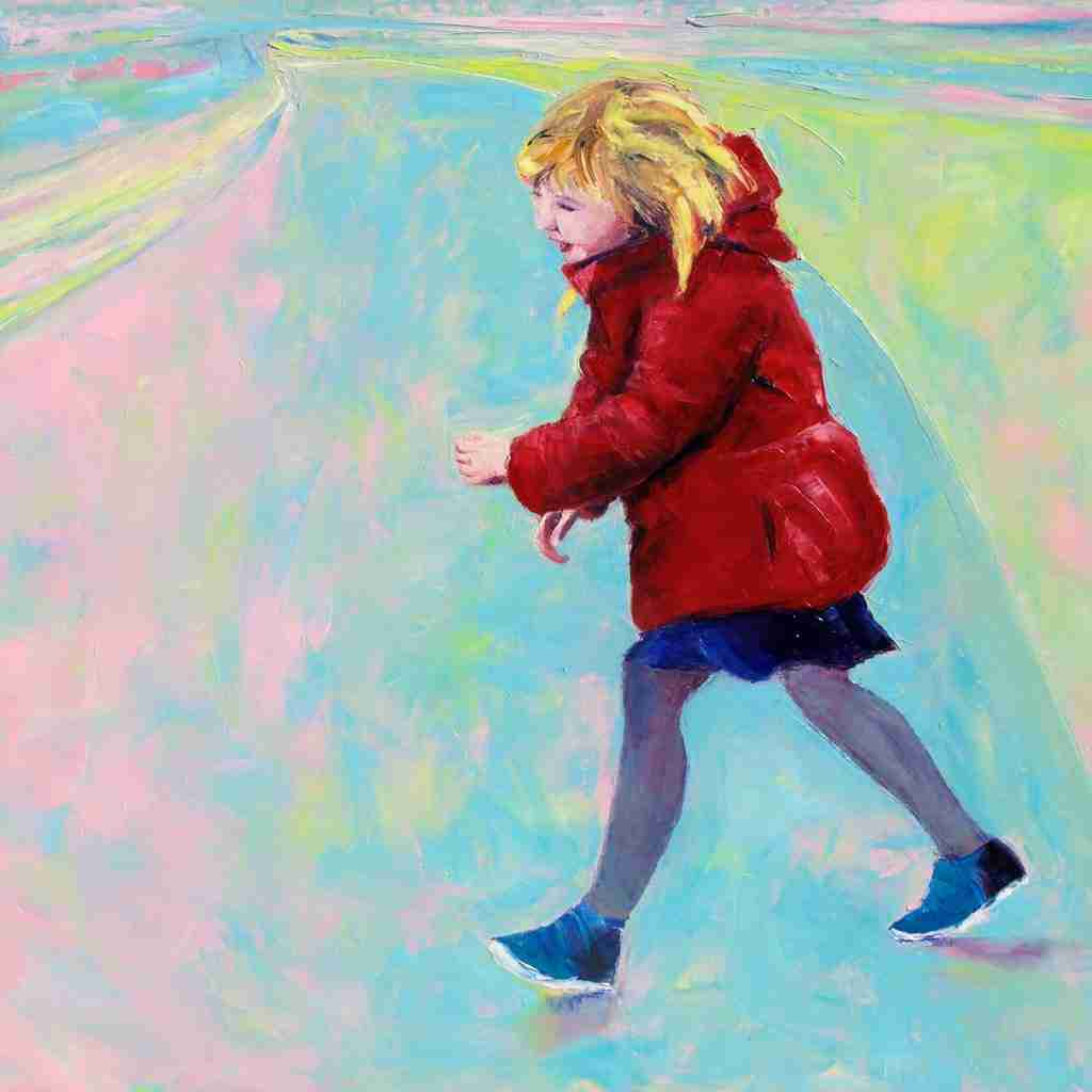 Oil painting of a little girl wearing a red coat by Emma Plunkett