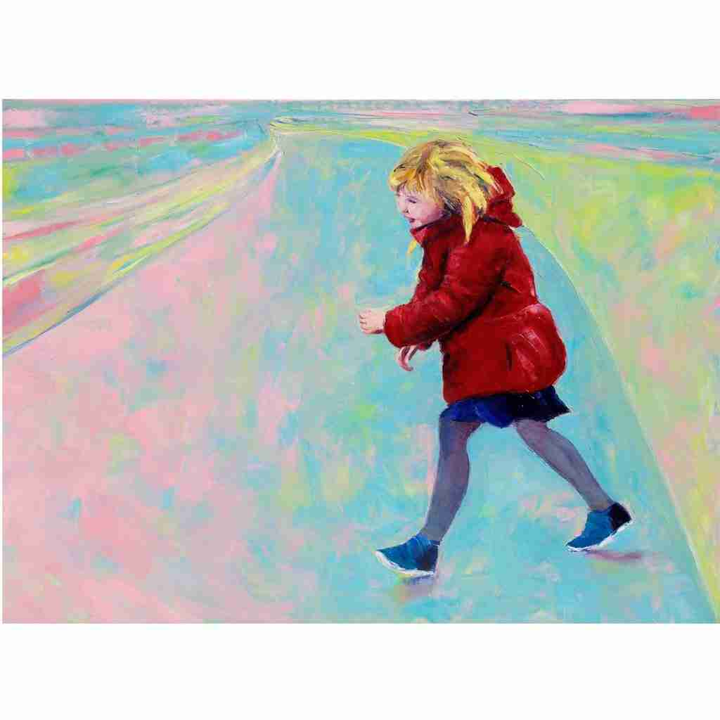 Painting of a little girl wearing a red coat