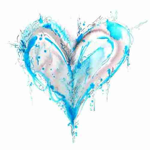 Blue watercolour love heart