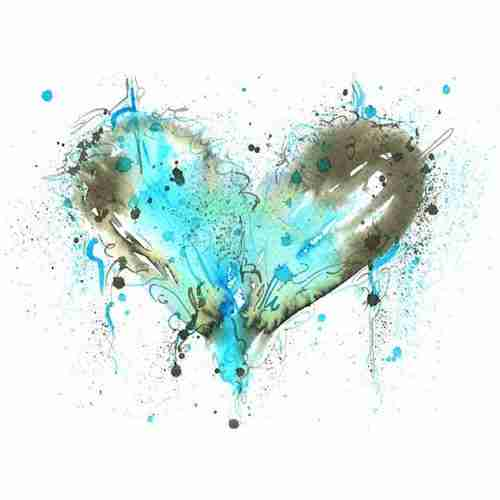 blue watercolour love heart painting