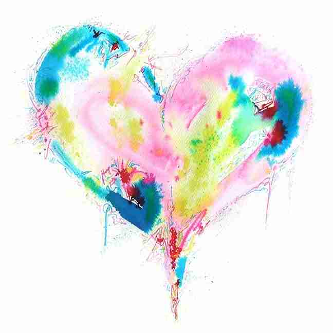 colourful abstract love heart watercolour painting