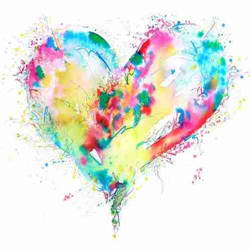 colourful love heart watercolour painting by Emma Plunkett