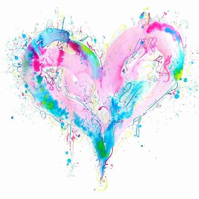 pink and turquoise love heart watercolour painting by Emma Plunkett art