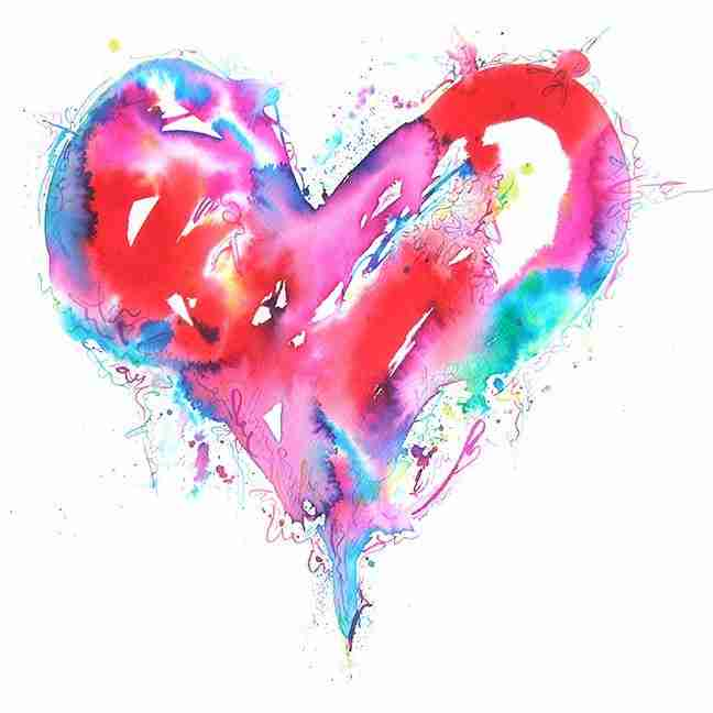 colourful red love heart watercolour painting by Emma Plunkett