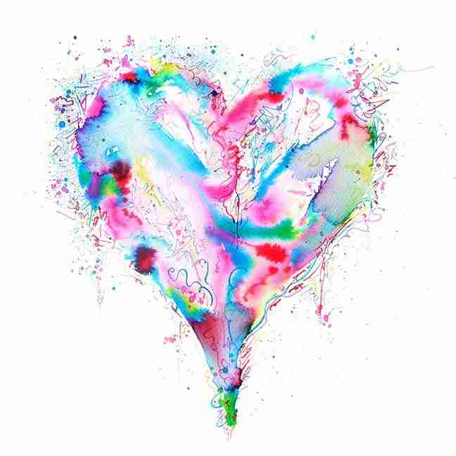 colourful watercolour love heart