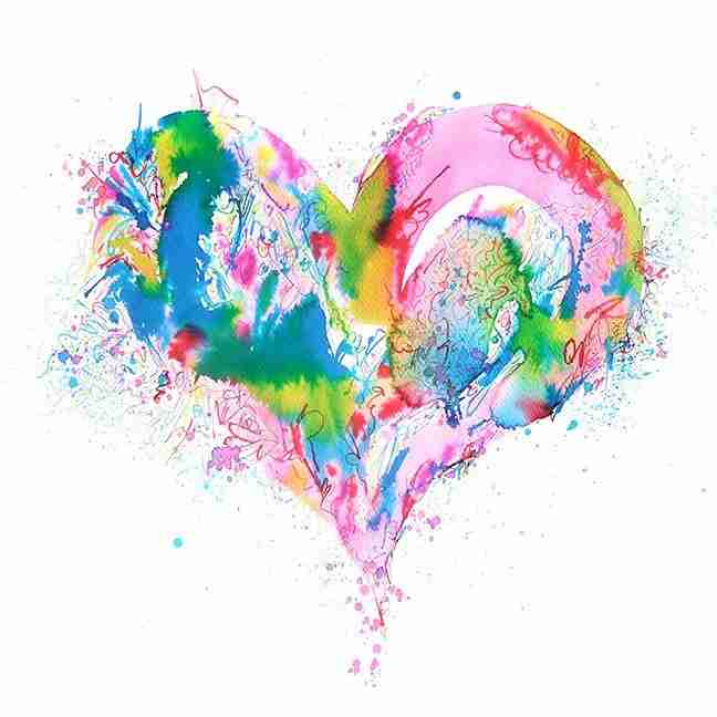 Beautiful watercolour love heart painting by Emma Plunkett
