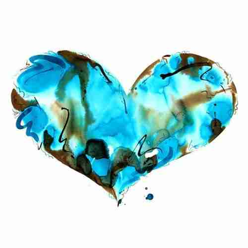 Turquoise love heart watercolour painting