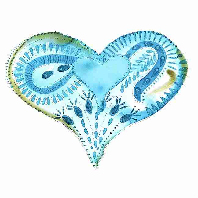 Complex blue watercolour love heart painting
