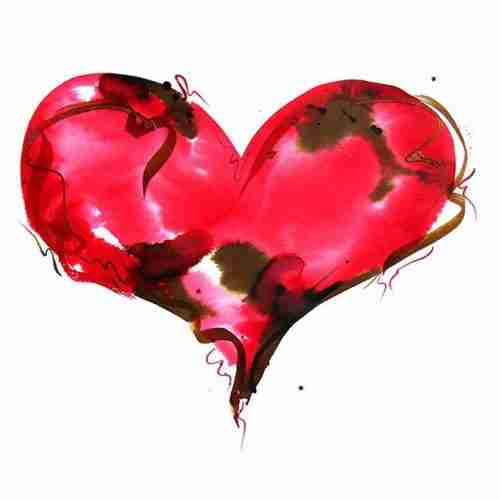 romantic red watercolour love heart