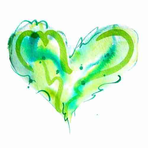 Green Love Heart watercolour painting by Emma Plunkett art