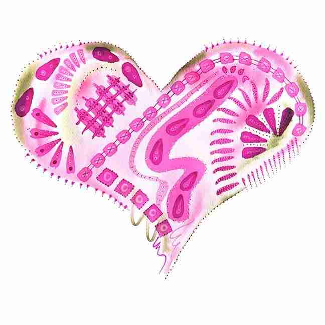 Complex pink love heart watercolour by Emma Plunkett art