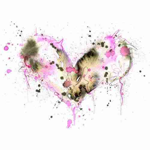 pink watercolour love heart painting