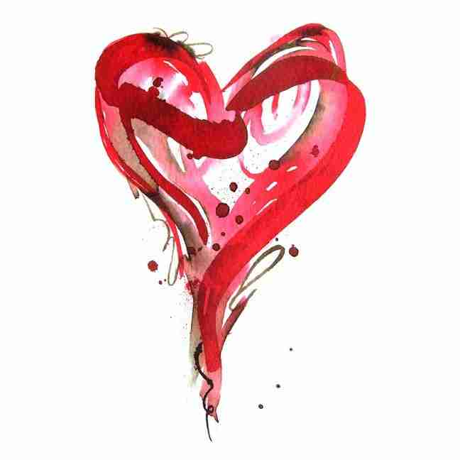 red love heart watercolour painting