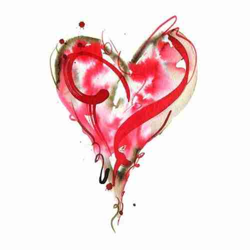 Red watercolour love heart painting