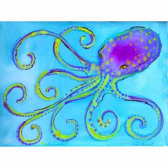 luminous watercolour of an octopus by Emma Plunkett