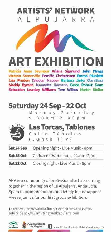 Invite to Artists Network Alpujarra art exhibition