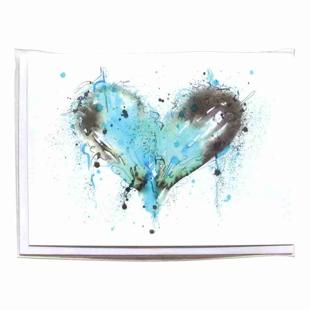 Blue watercolour love heart greeting card by Emma Plunkett