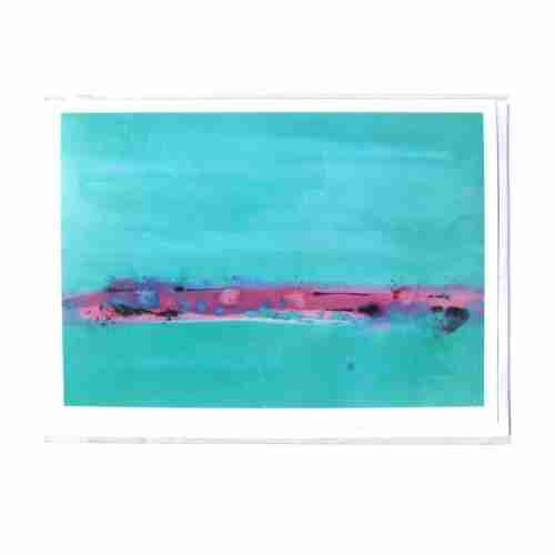 Abstract torquoise watercolour gift card by Emma Plunkett