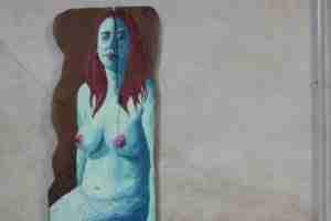 Mermaid painted on eucalyptus wood