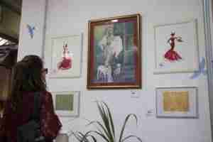Watercolour flamenco dancers on display