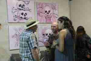 Pink skull oil paintings