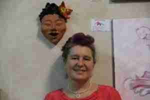 Emma Plunkett and her terracotta mask