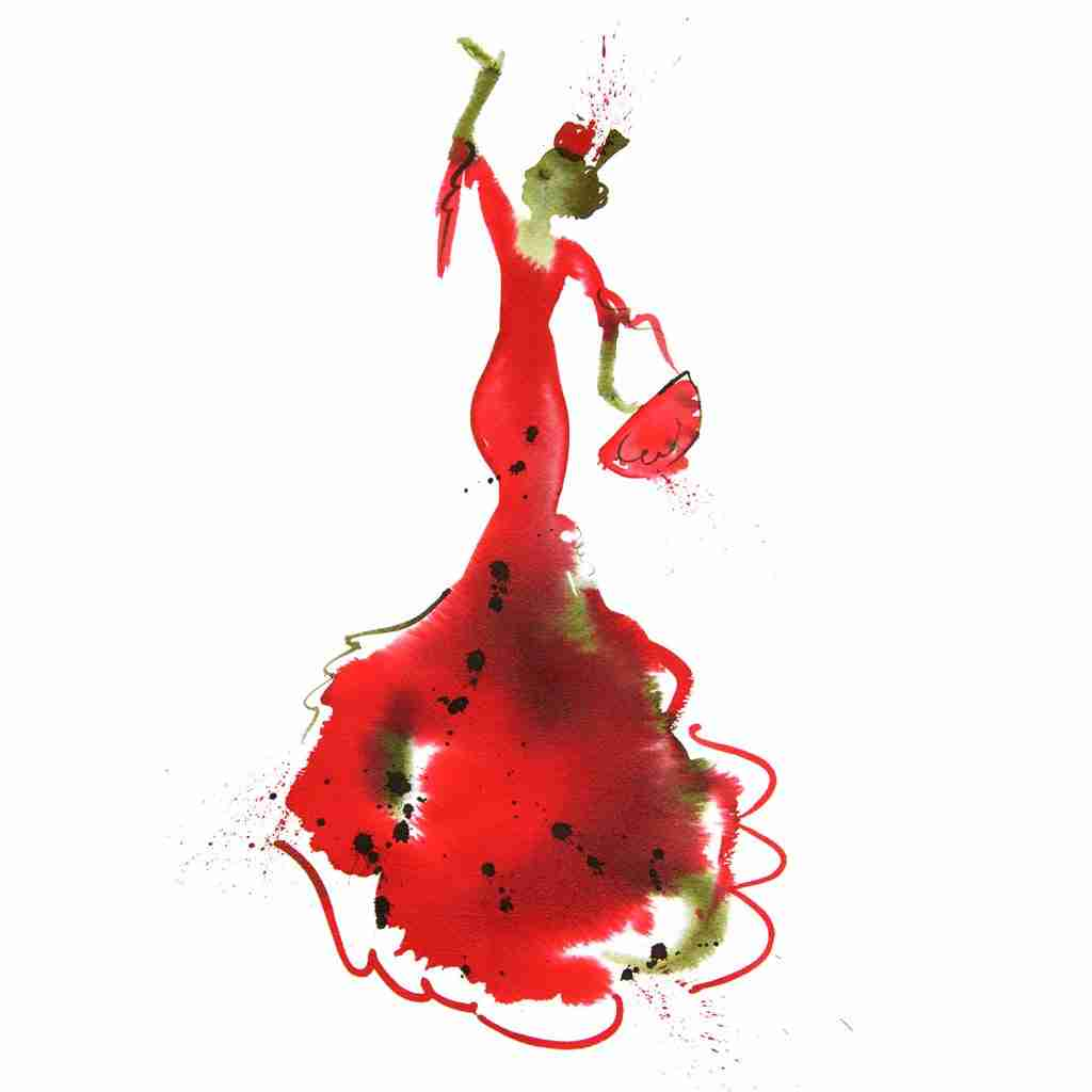 red flamenco dancer watercolour painting by Emma Plunkett art