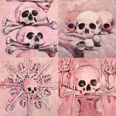 4 pink skulls oil paintings
