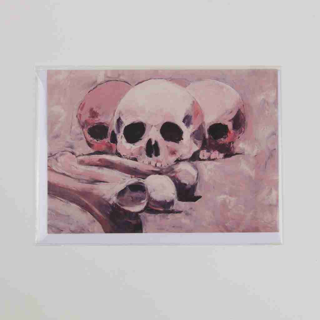 Pink skulls, oil painting on a greeting card
