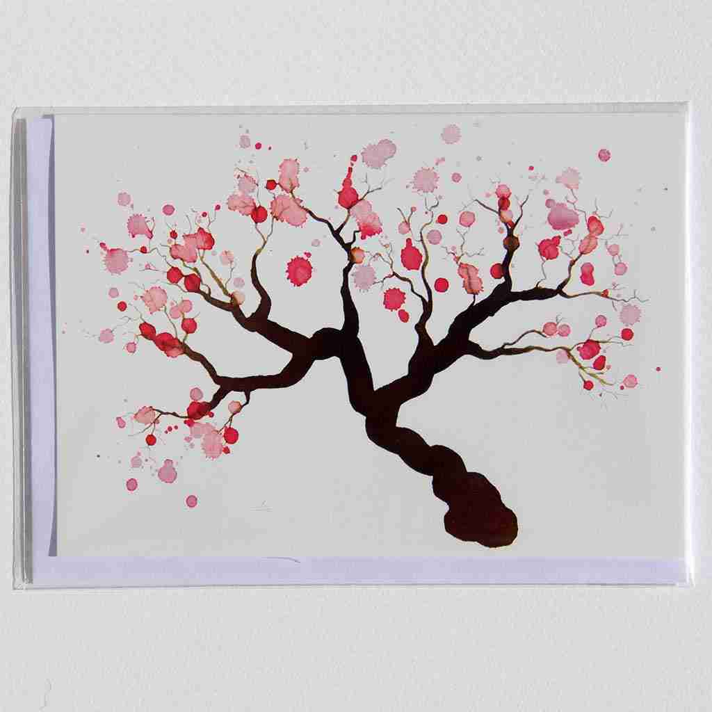 Greeting card with watercolour almond blossom