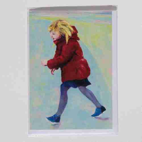 An oil painting of a little girl crossing the road