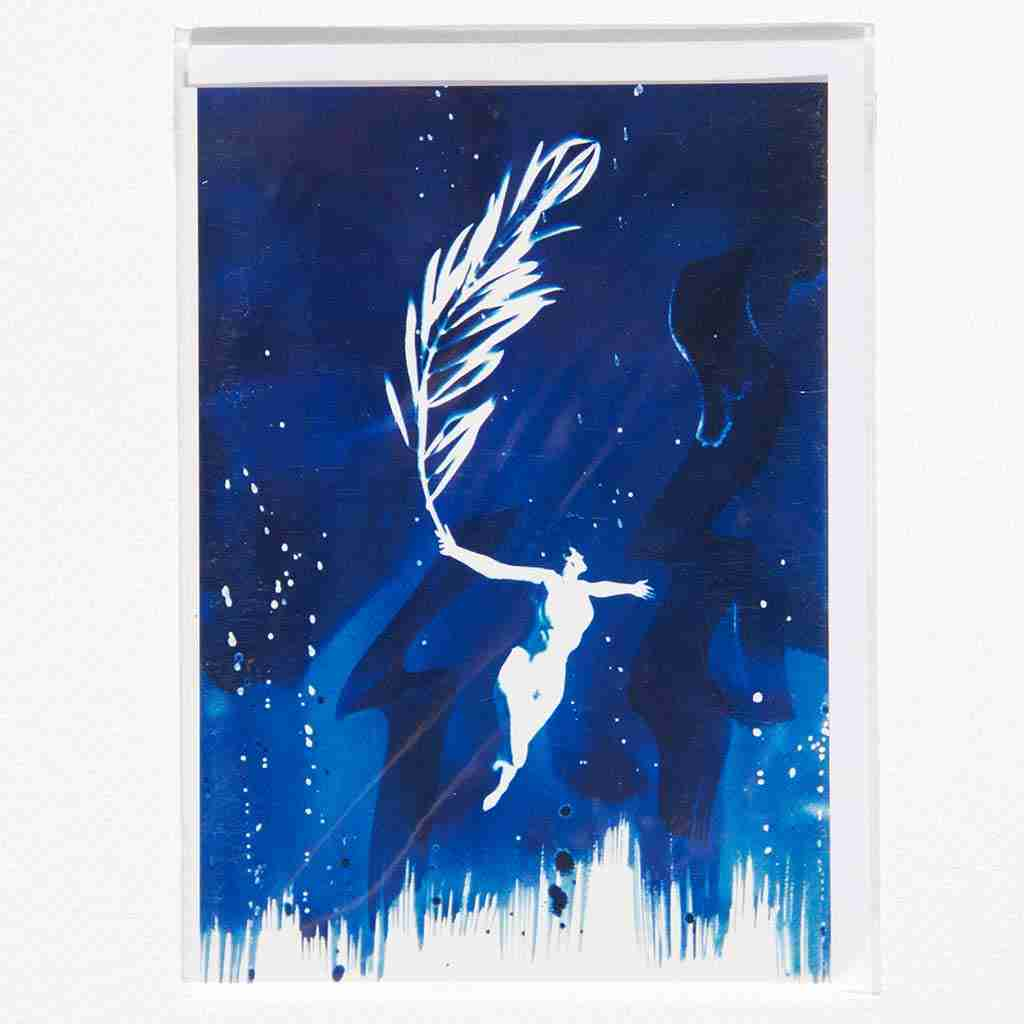 unique cyanotype print with nude and olive sprig