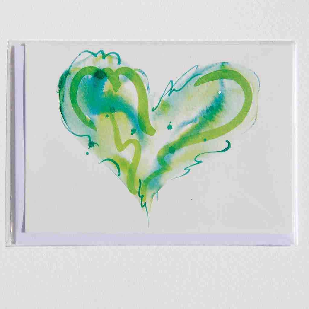 green love heart watercolour greeting card