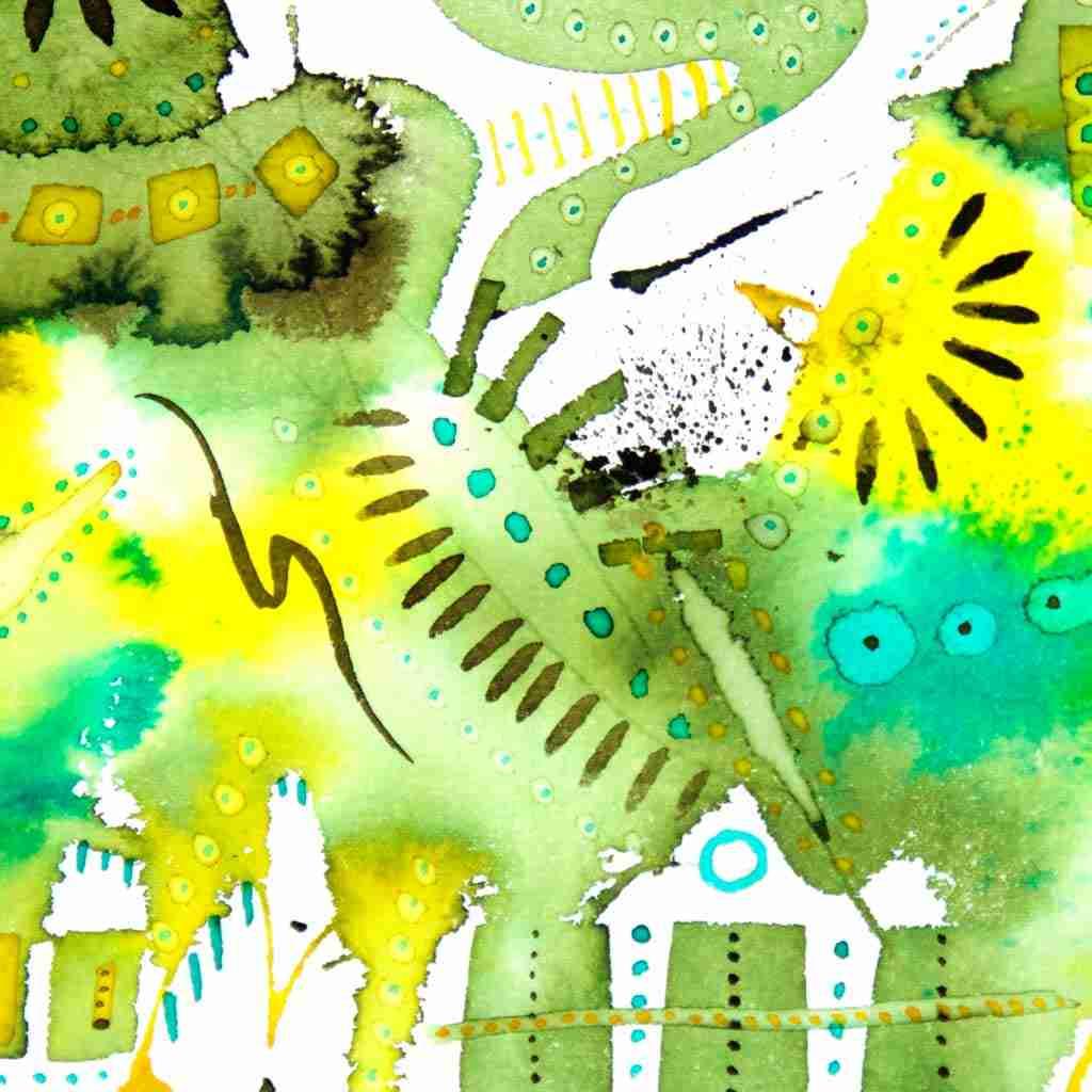 khaki watercolour abstract painting
