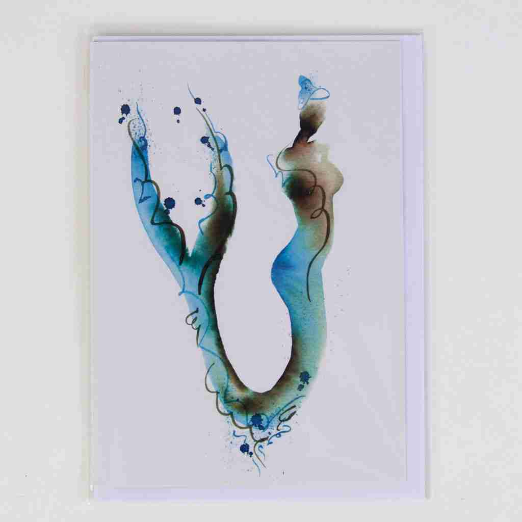 turquoise watercolour mermaid greeting card
